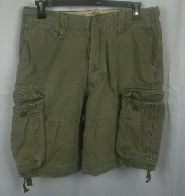 7 Pocket-cargo-shorts (Abercrombie & Fitch Green Twill 7 Pocket Cargo Shorts 100% Cotton Size 31)