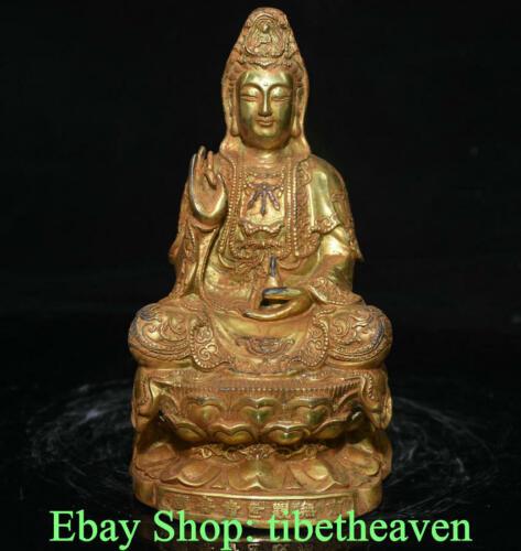 "7.6""  Old Tibet Copper Gold Buddhism Guan Yin Avalokitesvara Goddess Sculpture"