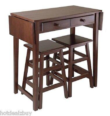 Modern 3 Pieces Drop Leaf Table Stools Set Kitchen Dinette Breakfast Bar Storage