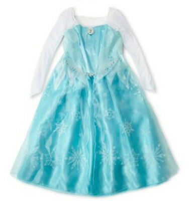 OFFICIAL Disney FROZEN Dress-Up ELSA Gown Halloween COSTUME Size 9/10 - Disney Official Costumes