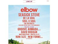2 tickets for Elbow on Clifton Downs, Bristol; with Groove Armada, De La Soul, Roni Size and more