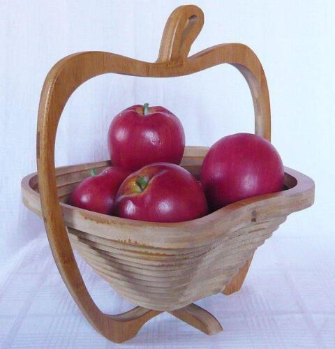 Fruttiera Ciotola cestino 30 cm Mela PANE PIEGHEVOLE DI LEGNO CESTO FRUTTA 30