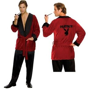 Mens Playboy Hugh Hefner Smoking Jacket Robe Licensed Halloween Costume STD