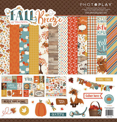 Scrapbooking Crafts PP12X12 Paper Pack Fall Breeze Trees Pumpkins Leaves Fox  (Leaves 12x12 Scrapbook Paper)