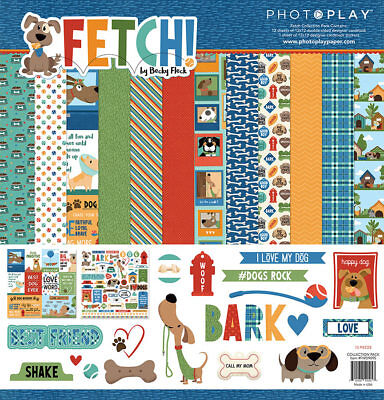 (Scrapbooking Crafts PP 12X12 Paper Pack Fetch Dogs Rock Toys Houses Bark Bones)