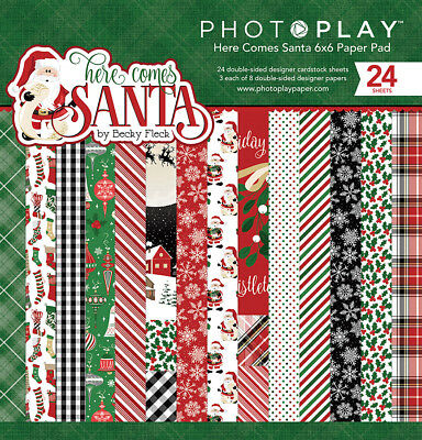 Scrapbooking Crafts PP 6X6 Paper Pad Here Comes Santa Snow Flakes Holly Plaid Plaid Scrapbooking Paper