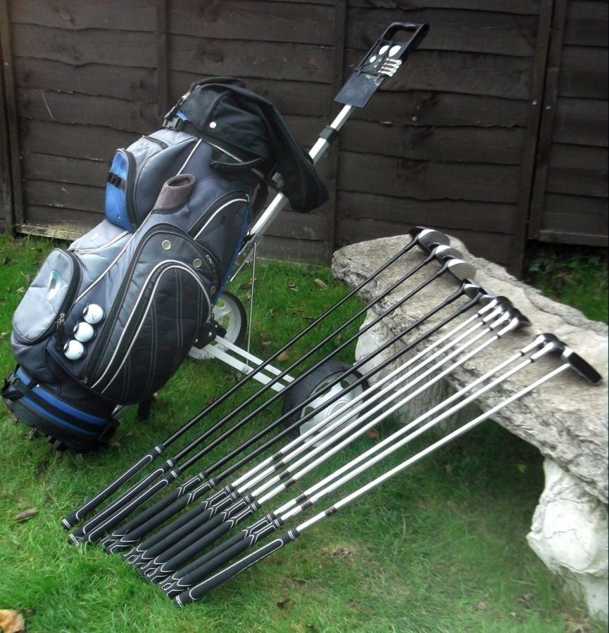 Full set of Clubs, Bag, and Trolley