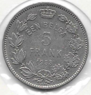 5 Frank Een Belga nickel 1933 FL  Pos. A