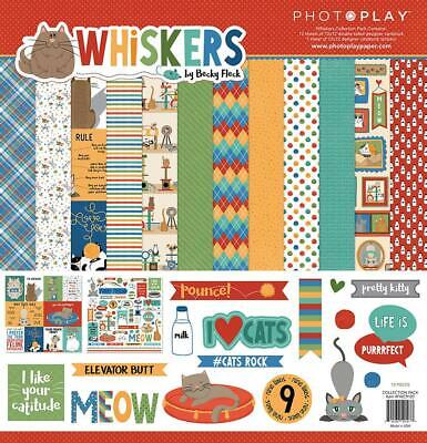Photoplay Paper WHISKERS 12x12 Collection Pack Cat Kitten Scrapbook Kit FWC9107 Cat Scrapbook Kit