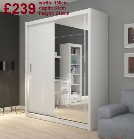 BRAND NEW Big 2 Doors Sliding Wardrobe with Mirror, Shelving, Hanging Rail FREE DELIVERY