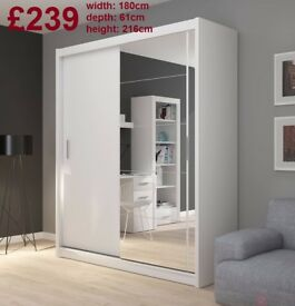 BRAND NEW Big Two Doors Sliding Wardrobe with Mirror, Shelving, Hanging Rails FREE DELIVERY