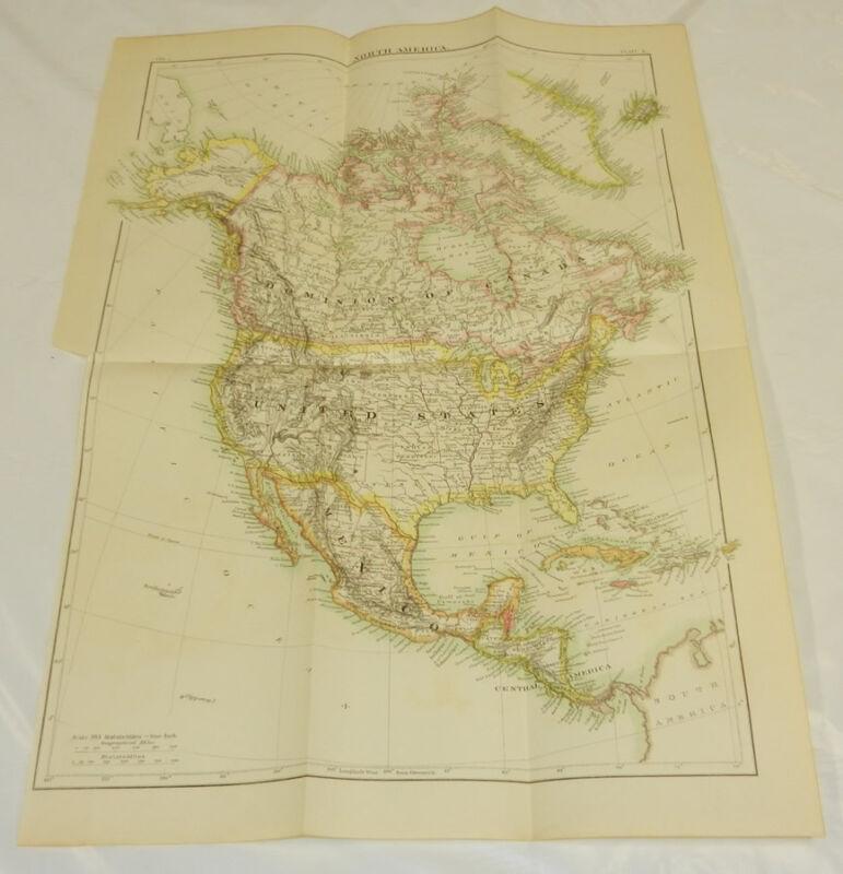 "1875 Antique COLOR Map/NORTH AMERICA/Large 13x19"""