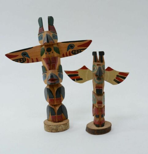 Pair of Antique Northwest Coast Totems from Old Seattle Collection