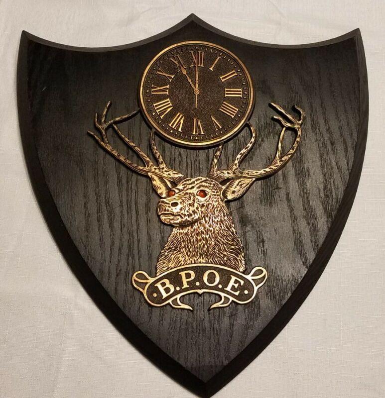 B.P.O.E. Elks Club Vintage Solid Wood & Brass Wall Shield Plaque 11:00 Clock