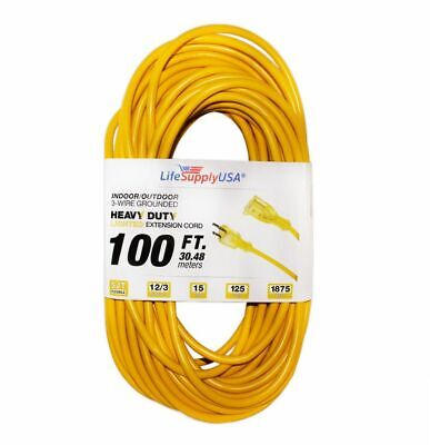 12/3 100ft 300V SJTW Lighted End Extension Cord 15 AMP