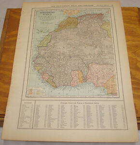 1908-Colliers-Antique-COLOR-Map-NORTHWEST-AFRICA-b-w-CENTRAL-AFRICA-CONGO