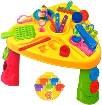 Knettisch mit Zubehör Spieltisch Spielzeug Knete Lernspielzeug Kinderknete doh