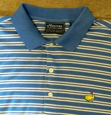 (MASTERS COLLECTION Mens Size L LARGE Polo Golf Shirt S/S Logo Horizontal Stripe)