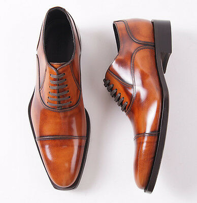 Nib  695 Canali 1934 Glossy Golden Brown Leather Cap Toe Balmoral Us 8 5 D Shoes
