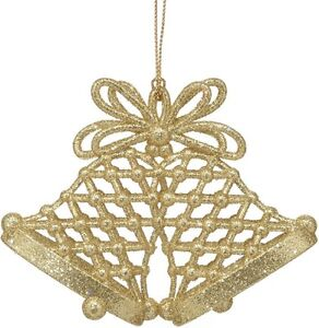 Set-of-4-Gold-Glitter-Bells-Christmas-Tree-Decorations-NEW-18545