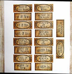 Macbeth Vintage Style Halloween Potion Bottle Label Stickers Uncut Set of 18