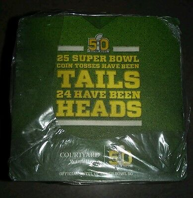 Lot Of 125 Super Bowl 50 2 Sided Square Cardboard Coasters Marriott Courtyard