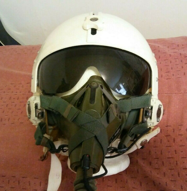 Korea Vietnam War Era USAF American Fighter Pilot Helmet w/ OXYGEN MASK