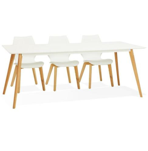 Table à manger design 'MADY' blanche style scandinave - 200x