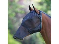 Shires Fly Mask- Full Face, Ear Holes, Nose Cover. Black, Cob Size