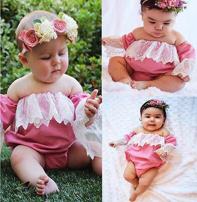 US Stock Newborn Infant Baby Girl Lace Romper Off Shoulder Sunsuit Clothes 0-3T