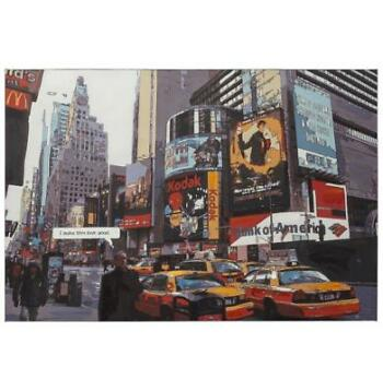 Designschilderij 'BUSY' time square New York op bedrukt doek