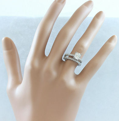 GIA I-SI1 18k Whtie Gold Cushion Cut Diamond Engagement Ring And Band 2.20ctw 2
