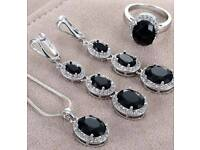 Bnwt sterling silver black sapphire set