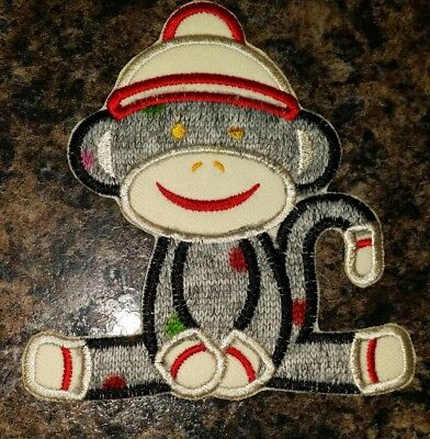 SOCK MONKEY GRAY WITH COLORED POLKADOTS APPLIQUE PATCH QUILT CLOTHING ACCESSORY