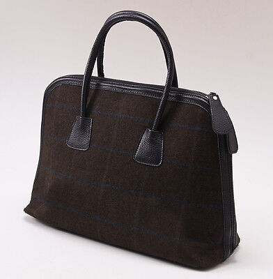 NWT $2390 KITON Olive and Blue Check Cashmere and Leather Satchel Purse Handbag