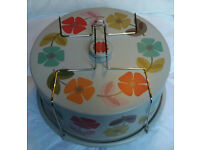 Large metal cake tin with handle 30cm RETRO pattern