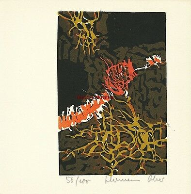 Graphik Original-Linolschnitt Hermann Ober (1920-97) Informel, Tachismus - 1962