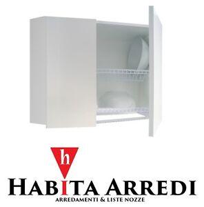 Pensile Scolapiatti Mobile per Cucina 75 cm Bianco Due Ante Personalizzabile  eBay