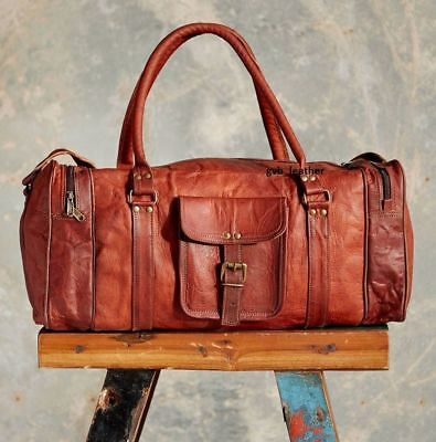 New Men's Retro Best Genuine Brown Goat Leather Vintage Duffle Travel Gym