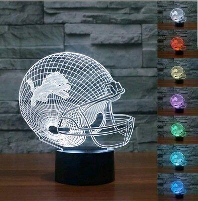 Detroit Lions Night Light - NFL Detroit Lions Helmet 3D illusion  Color Change LED Night Light Desk Lamp USA