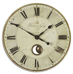 Harrison Wall Clock Gray 30D Round Gallery Pendulum French Country New