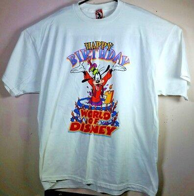 VTG Disney Mickey Mouse Inc GOOFY HAPPY BIRTHDAY 90s T Shirt Size USA 2XL XXL - 90s Birthday