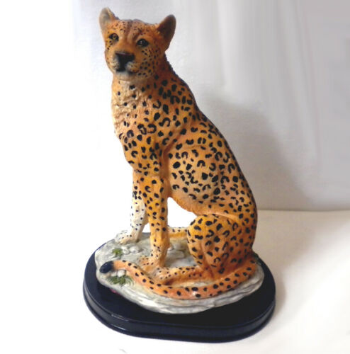 Realistic Cheetah Perched on Rocks in Living Stone Resin Figurine/Sculpture Nice