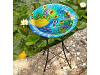 Beautiful Hand Painted Peacock Design Bird Bath - Brand New (2 Available)