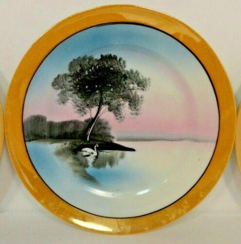 Vintage Chikaramachi Lustreware Plates Dessert Set of Four Swan Design