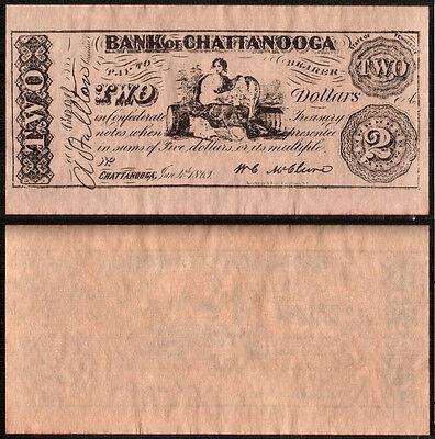 RIPRODUZIONE BANCONOTA - BANK OF CHATTANOOGA - TWO $2 DOLLARS DOLLARI - 1863 usato  Italia