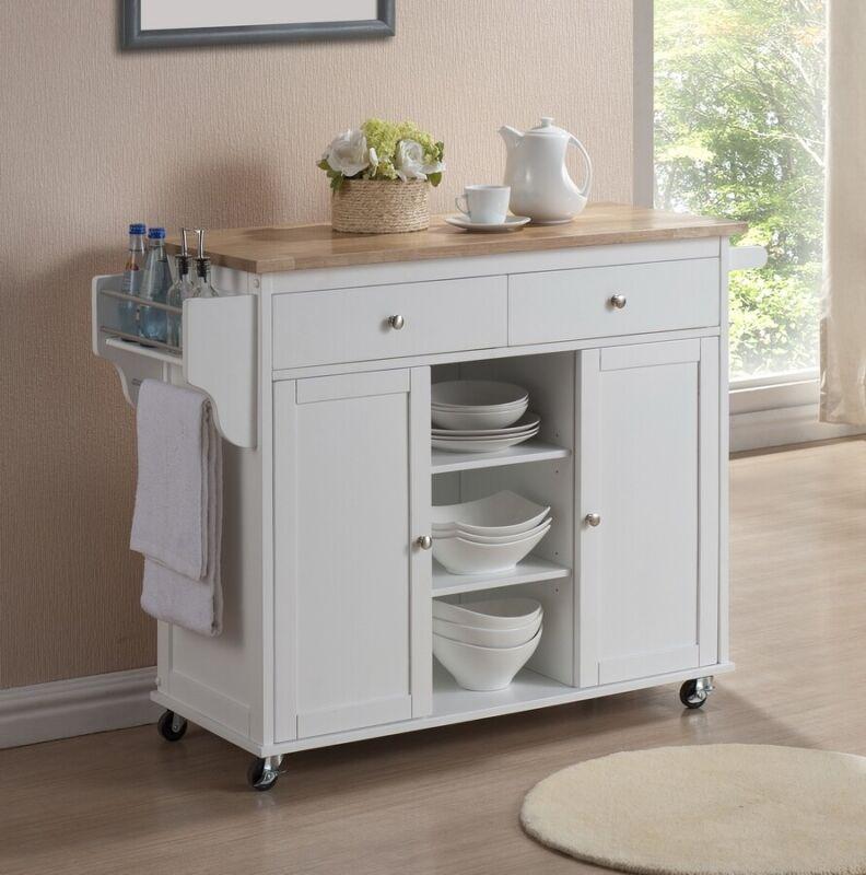 Meryland Modern Two-Tone Wood Kitchen Island Serving Cart Cabinets Trolley
