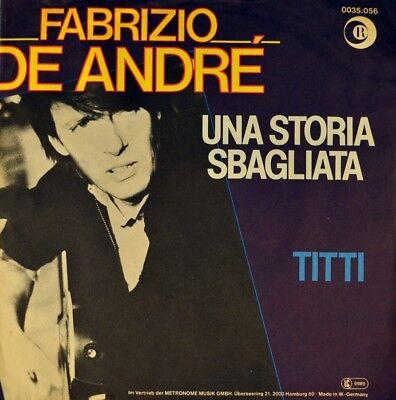 """7"""" FABRIZIO DE ANDRÉ Una storia sbagliata / Titti RICORDI Chanson 1980 like NEW!"""