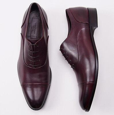 Nib  895 Ermenegildo Zegna Burgundy Calf Captoe Balmoral Us 14 D Dress Shoes