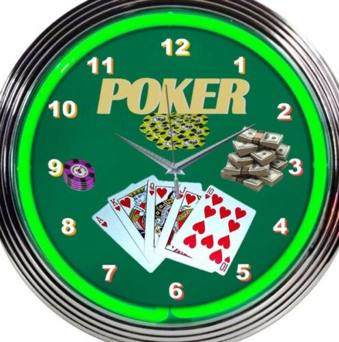 Poker Neon Clock Playing Cards Royal Flush Green 15 Inch Office Game Room Garage